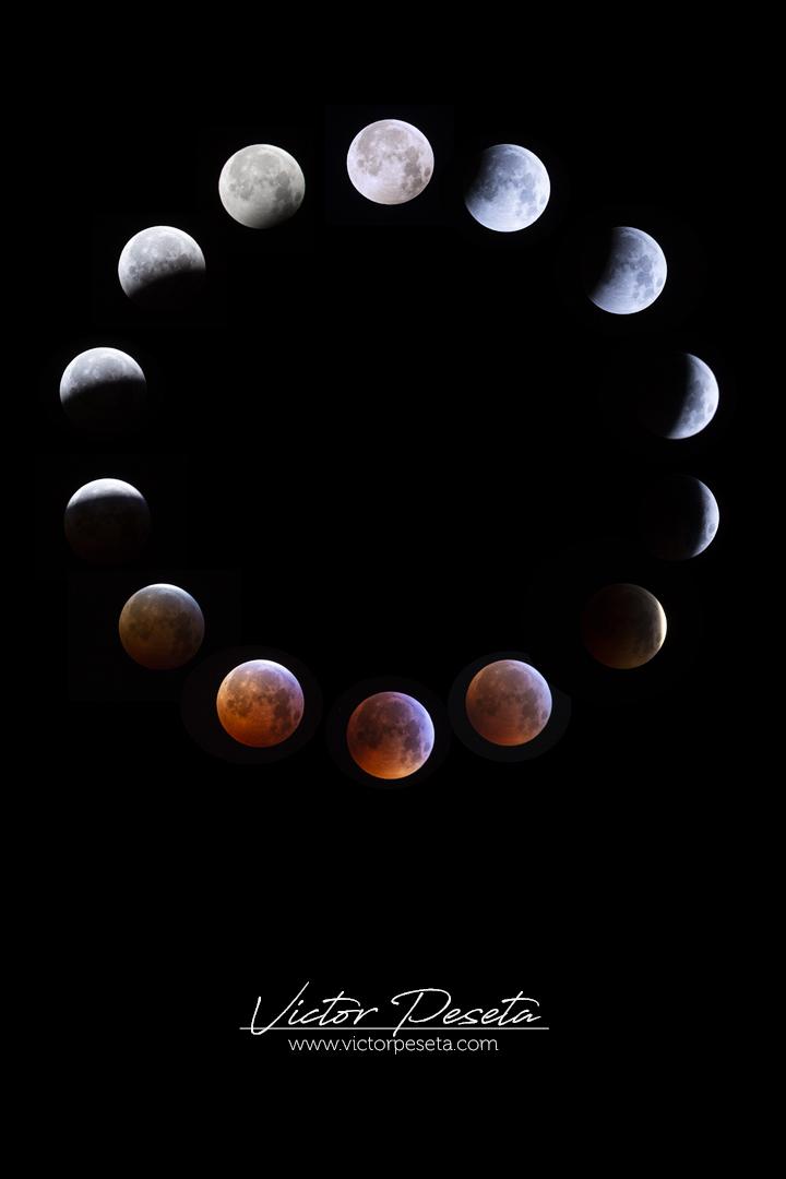 Composición de 14 fotografías del Eclipse lunar 2019 - Super luna de sangre de lobo